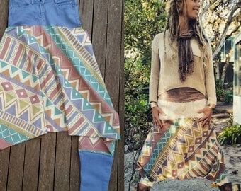 Bohochic harem pants/ upcycled clothing/ aztec print/ planet-friendly/ sustainable fashion/ one-off. Size 8.