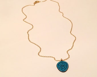 Natural Turquoise Gemstone Pendant Necklace, Gold Plated Blue Necklace ,Blue Jewelry, Fashion Jewelry, Amulet, Natural Stone, Christmas Gift