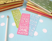 Book Quote Bookmark Set. Literary Quotes. Book Lovers. Book Quotes. Oscar Wilde. C.S Lewis. Jane Austen. Tea and Books. Literary Gifts.
