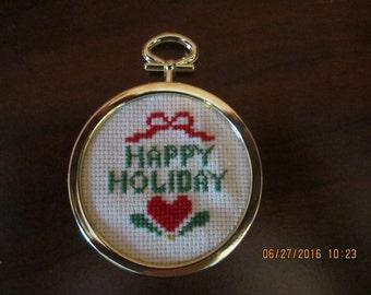 Happy Holiday Heart Christmas Tree Ornament
