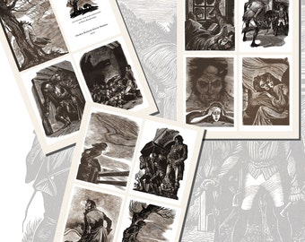 Wuthering Heights Printables by Fritz Eichenberg, POSTCARD SIZE,  (3.5 x 5 Inch  or 12.7 x 8.8 cm), 12 Total