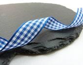 Blue Small Check Gingham Ribbon 15mm Berisfords