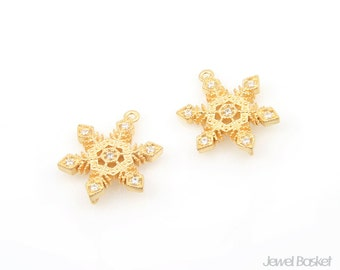 Snow Crystal in Matte Gold / 13mm x 16mm / BMG240-P (2pcs)