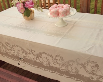 Vintage Large Pink Tablecloth Oblong Cotton & Rayon Mercerized Table cloth Table Linens Pearlized High Thread Count Hand Hemmed With Tags