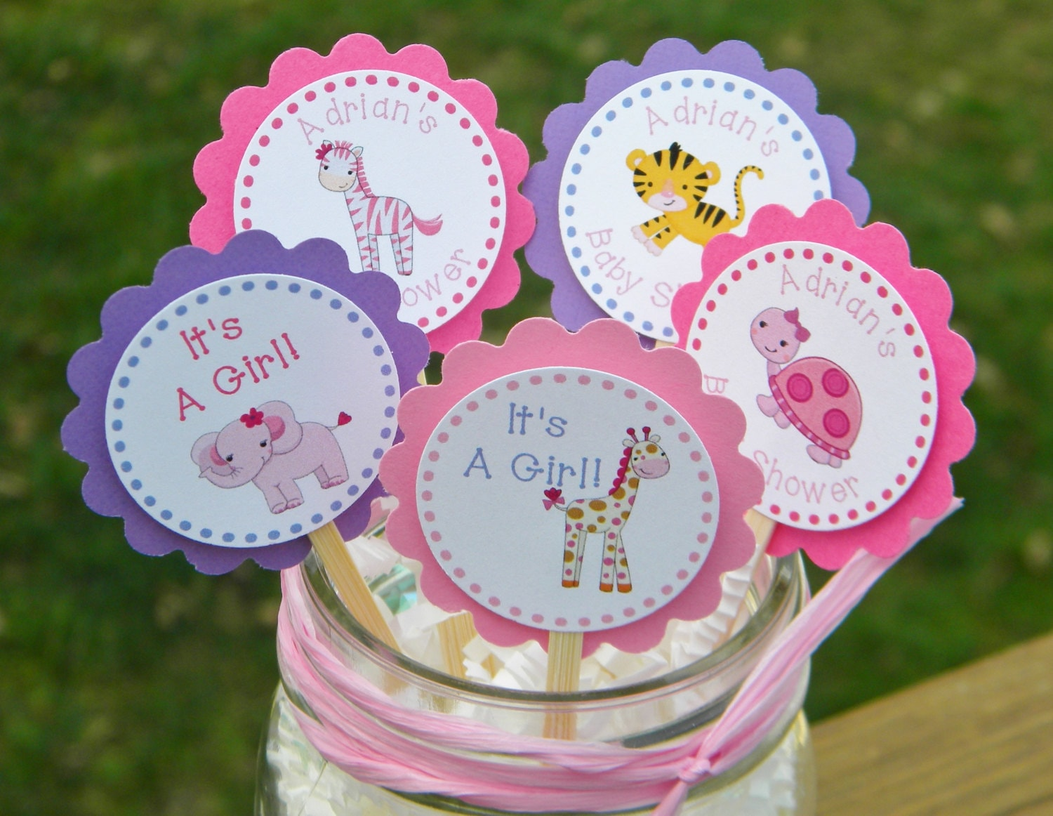 Baby shower cupcake toppers personalized baby shower animal for Baby shower cupcake picks decoration