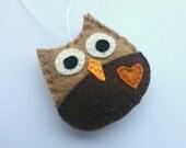 Felt owl hanging ornament - handmande fall decoration - natural colors - forest animals - Christmas home decor Baby shower eco friendly