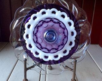 """SALE! Repurposed Glass Flower, Sun Catcher Glass Garden Art - """"Mulan"""" Iridescent Purple Crystal Glass Flower, Made from Glass Plates"""