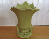 Camark Art Deco Pottery Vase Chartreuse Green Double Handle 807