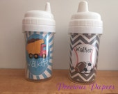 Personalized boys sippy cups sports sippy cups dump truck sippy cups for boys