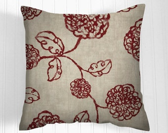 Decorative Throw Pillow Cover -  Accent  Pillow- Pillow  Covers- Pick Your Size - crimson and ivory.  Home Decor Fabric front & back