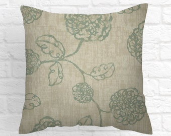 Green Floral  Pillow Cover . 18 X 18   Decorative Throw Pillows . Decorative Pillow Fabric front and back Lodge Style
