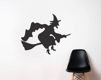 Witch Halloween Wall Sticker, Halloween Wall Sticker Decal Vinyl, Flying Witch Wall Decal, Broomstick Witch Halloween Wall Decor, h22