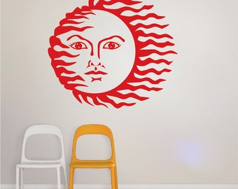 Sun Decals Sun Stickers, Sun Vinyl Room Sticker, Sun Murals, Bedroom Sun Decals, Abstract Decals, Modern Decal, Beautiful Wall Art, a00