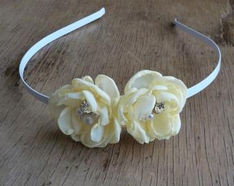 Buttercup Pastel Yellow Flower Headband Flower Girl Hair Bridesmaid Bridal Hair Flowers Wedding Headpiece