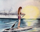 Birthday Girl  Paddle Boarder ocean sunset watercolor print card (item- OR2)