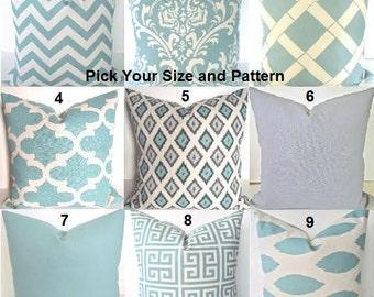 Blue PILLOWS Spa Blue Pillow Covers Blue Throw Pillows Gray Pillows Spa Blue Pillow Covers ALL SIZES. Lumbar 16x20 18 20 Home Living