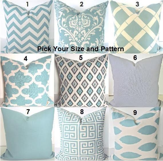 Spa Blue Throw Pillow Cover : Blue PILLOWS Spa Blue Pillow Covers Blue Throw Pillows Gray