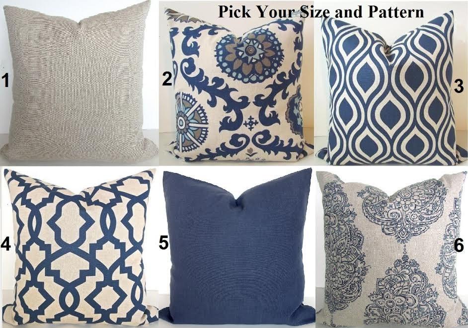 Navy Blue Decorative Bed Pillows: PILLOWS Navy Blue Throw Pillow Covers Dark Blue Tan Decorative