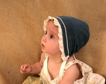 Denim and Eyelet baby bonnet -- baby girl hat, blue toddler bonnet, sturdy baby bonnet, newborn infant photo prop, baby clothes, shower gift