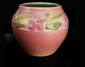 1930 vase The School of Mines North Dakota  Art Pottery signed Fargo Quota Club floral terra cotta color vintage flowers