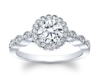 Ladies 14k white gold antique engagement ring with 1 carat Round Brilliant White Sapphire and 0.25 ctw diamonds