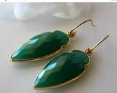 VALENTINE Sale Arrow Head Green Onyx  Drop Earrings, Green Gemstone Dangle, Onyx Jewelry, Dagger Earrings