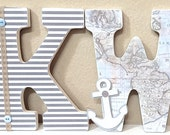 Nautical Nursery Letters, Nautical Nursery Decor, Map, Anchor, Wooden Letters, Wall Letters, Hanging Letters, Nautical Baby Shower