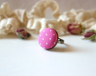 Pink Polka Dot Ring, Fuchsia Fabric Ring,Bronze Adjustable Ring,Simple Retro Ring, Fabric Button Ring,Romantic Pink Jewel,Fuchsia White Ring