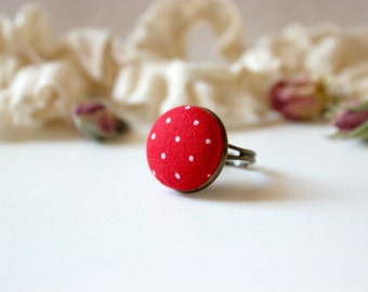 Passion Red Ring, Red Polka Dot ring, Fabric Button Ring, Valentine Love Ring, Retro Dot Ring, Red White Ring, Red Button Ring,Vintage Style