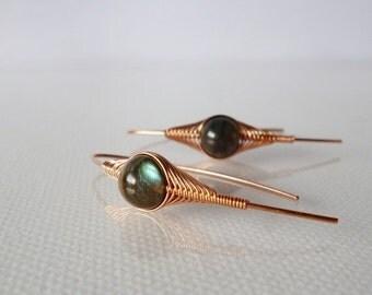 ON SALE Wrapped Labradorite Earring, Stick earrings, Herringbone wrap, Handmade jewelry, Copper jewelry, Wire Wrapped Earrings,Gemstone earr