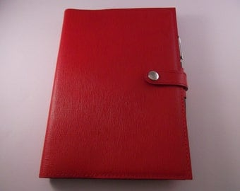 Real Leather Red A5 Notebook Cover and Notebook/Diary Cover/Journal Cover.
