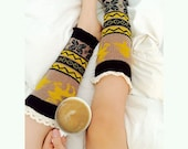 Festive Knitted Legwarmers, Leg Socks, Knit Socks, Button Knit Socks, Brown Knit Socks, Boot Socks