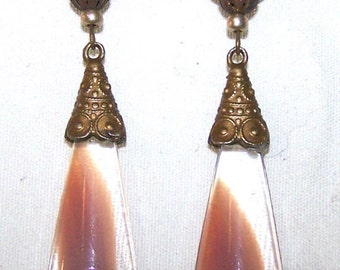 Vintage Unique Gablonz Old Czech Floral Rosy Beige Glass Hand Gold Filled Earrings
