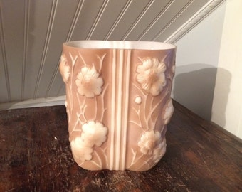 1920s Vintage 1930s Phoenix Consolidated Glass Company Art Deco Cased Glass Vase Cosmos Flowers Brown & White
