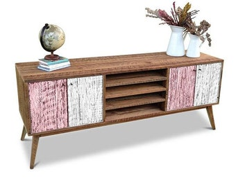 Flash Sale! Eco Recycled Solid Timber Modern Mid Century Retro Wooden TV Stand Entertainment Media Unit With Shelves in Blush Pink & White