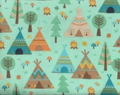 Teepee Time flannel fabric - forest of teepees trees camp fires teal brown orange - Northcott Deborah Edwards - by continuous YARD