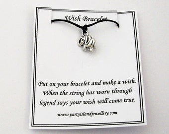 LUCKY ELEPHANT Charm Black Cord Friendship Bracelet on Wish Message Card