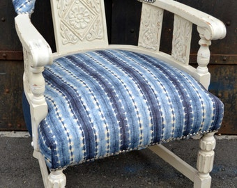 Indigo and White Reupholstered Vintage Armchair