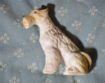 Vintage White Airedale  Dog
