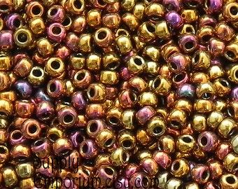 Metallic Gold Iris 8/0 Miyuki Seed Beads - 14 grams - 2057 - Miyuki Metallic Gold Iris 8/0 Seed Beads - 8-462