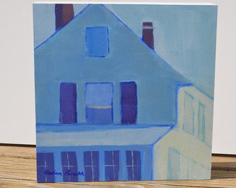 Small blue painting, Cottage painting, beach house decor , small white blue art, architecture, modern painting, square, original acrylic