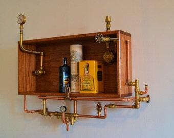 Steampunk Industrial Wall Shelf, Mini Bar