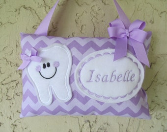 Tooth Fairy Pillow Personalized Lavender tone on tone Chevron Purple