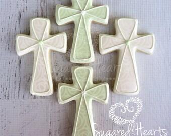Baptism Christening Dedication Cross Baby Cookies - 1 Dozen