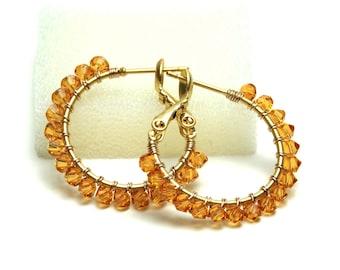 "Topaz Crystal Hoop Earrings - Wire Wrapped Swarovski Crystal, Gold Plated Hoops (20mm, Beaded 1"") - November gifts"