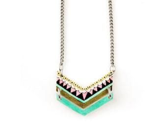 Chevron Shrink Plastic Necklace