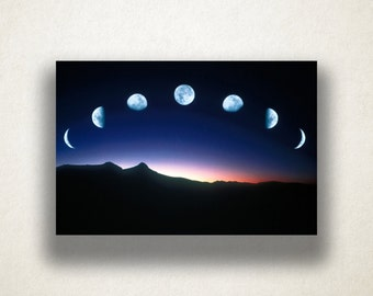 Moon Phases over Mountain Canvas Art, Moon Wall Art, Night Sky Canvas Print, Artwork, Photograph, Canvas Print, Home Art, Wall Art Canvas