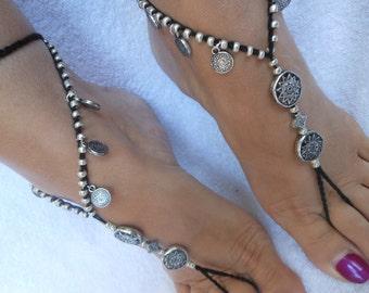 Crochet Barefoot Sandals Beach Wedding  Yoga Shoes Foot Jewelry Black Silver