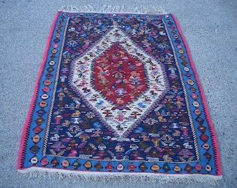 1990s Vintage Flatweave Senneh Kelim Persian Rug (3225)