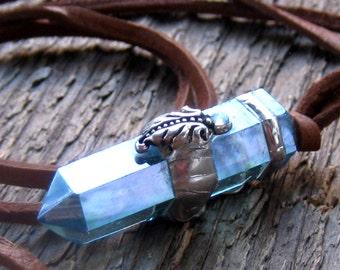 Aqua Aura Quartz Point Necklace Bohemian Jewelry